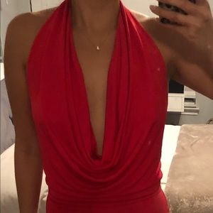 BCBGMAXAZRIA red low back cowl neck dress